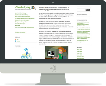 Captura de la portada del web Ciberbullying.net