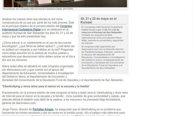 San Sebastián acogerá el I Congreso Internacional Ciudadanía Digital [Diario Vasco]
