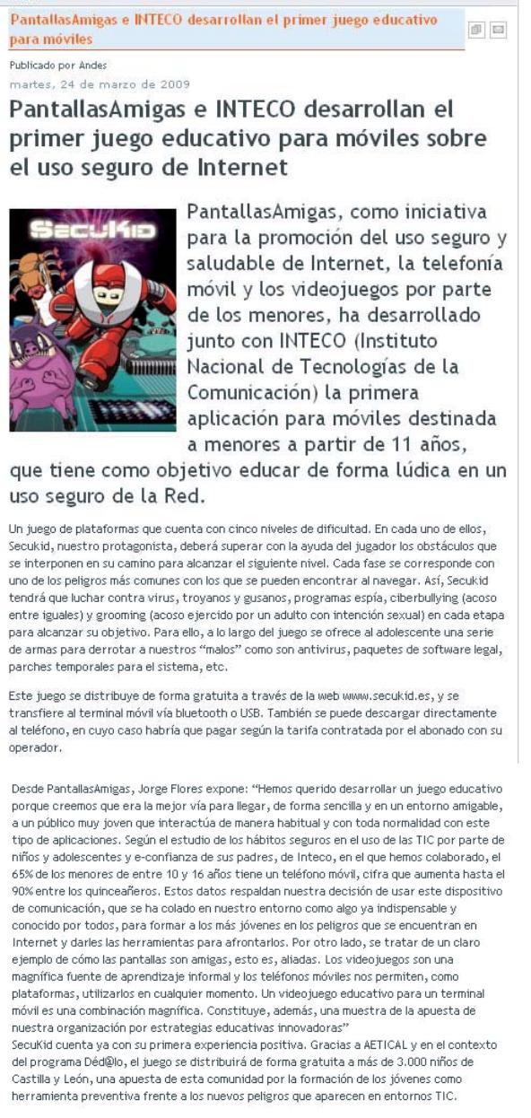 PantallasAmigas e INTECO desarrollan el primer juego educativo para móviles sobre el uso seguro de Internet