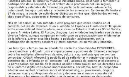 INTERNETamiga promueve el uso seguro de la Red por parte de la población adolescente de todo el mundo [CiberSur.com]