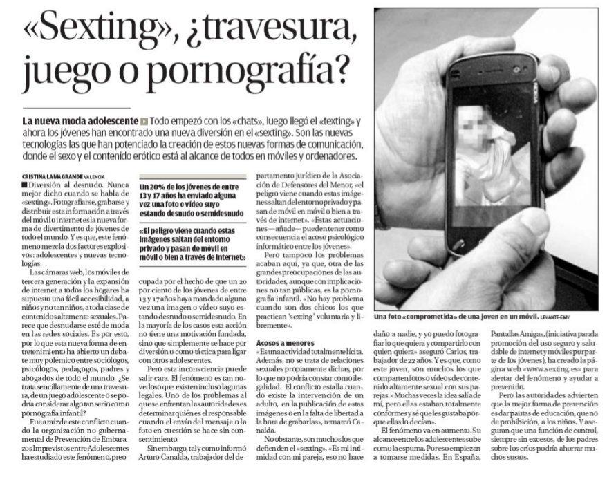 «Sexting», ¿travesura, juego o pornografía?
