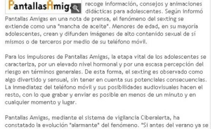 El 'sexting', otro peligro de Internet [DiarioDeTeruel.es]