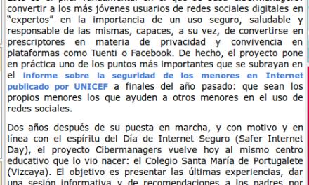 CIBERMANAGERS de Secundaria educan a menores y adultos en el uso de redes sociales [Aula y +]