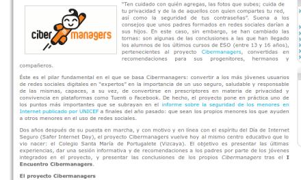CIBERMANAGERS de Secundaria educan a menores y adultos en el uso de redes sociales [InfoRedSocial.es]