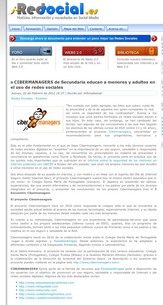 CIBERMANAGERS de Secundaria educan a menores y adultos en el uso de redes sociales