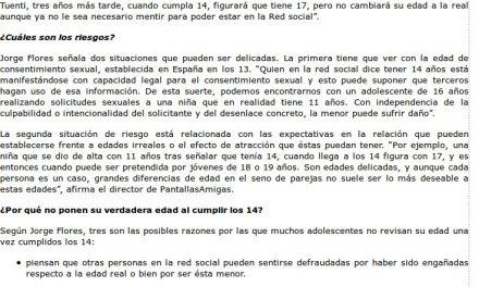Mentir sobre la edad en las redes sociales implica riesgos para los adolescentes [Cantabria24horas.com]