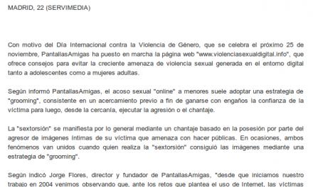 Violencia género. Crean una web para prevenir la violencia sexual contra mujeres y adolescentes en Internet [DiarioSigloXXI.com]