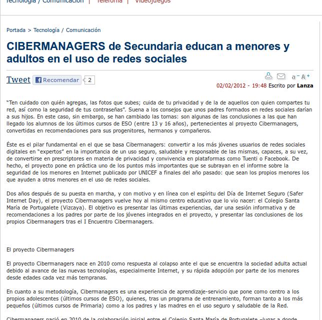 CIBERMANAGERS de Secundaria educan a menores y adultos en el uso de redes sociales [LanzaDigital.com]