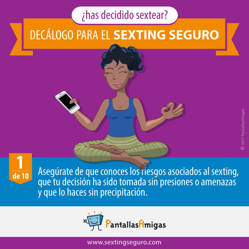 Asegúrate de que conoces los riesgos asociados al sexting, que tu decisión ha sido tomada sin presiones o amenazas y que lo haces sin precipitación.