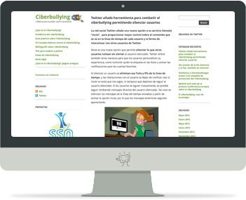 Captura de la portada del web Ciberbullying.net