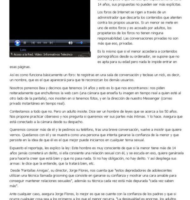 [Vídeo] Reportaje sobre acoso sexual (grooming) en Internet [Tele5]