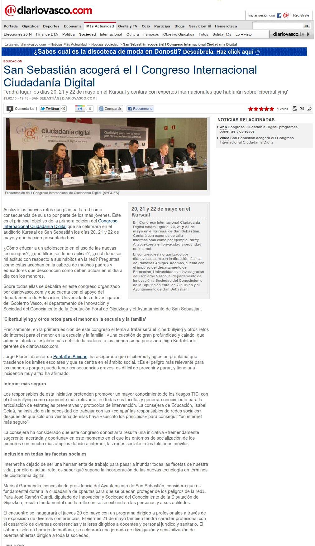 San Sebastián acogerá el I Congreso Internacional Ciudadanía Digital