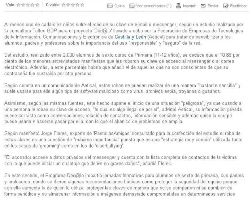 Uno de cada diez niños sufre el robo de su clave de e-mail o Messenger [NorteCastilla.es]
