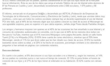 El 13% de los padres no limitan el tiempo que se conectan a Internet los escolares de Primaria [NorteCastilla.es]