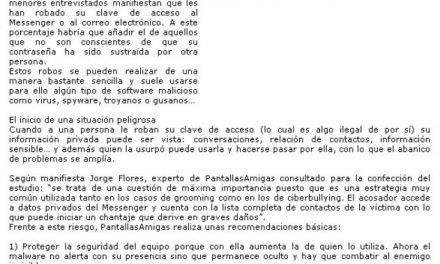 Al menos uno de cada 10 niños sufre el robo de su clave de email o Messenger [Andalucia24horas.com]