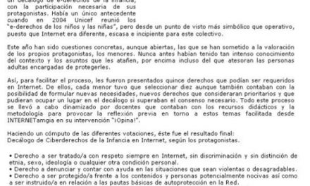 Decálogo de Ciberderechos de la Infancia, según los adolescentes en el contexto de INTERNETamiga [Andalucia24horas.com]