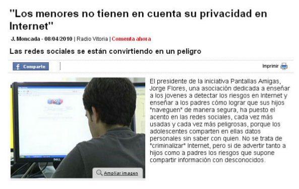 """[Audio] Entrevista a Jorge Flores: """"Los menores no tienen en cuenta su privacidad en Internet"""" [Radio Vitoria]"""