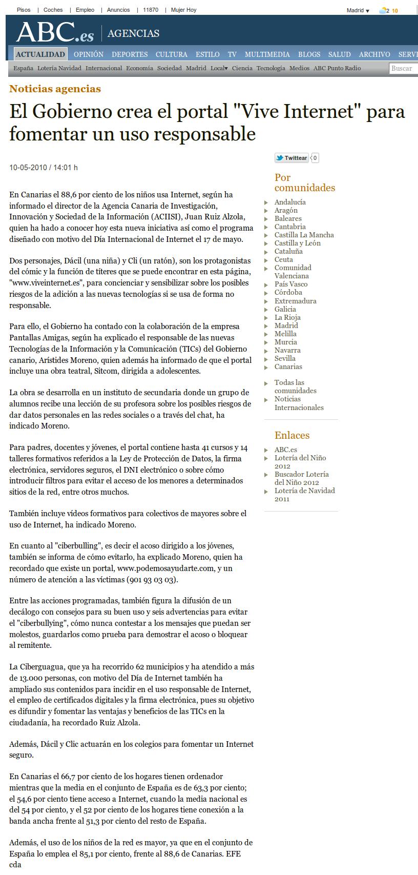 El Gobierno [canario] crea el portal Vive Internet para fomentar el uso responsable