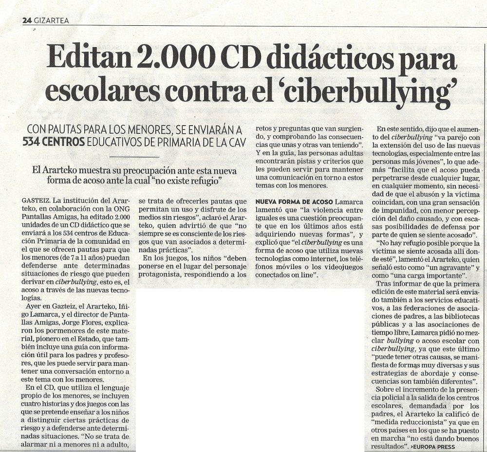 Editan 2.000 CD didácticos para escolares contra el ciberbullying