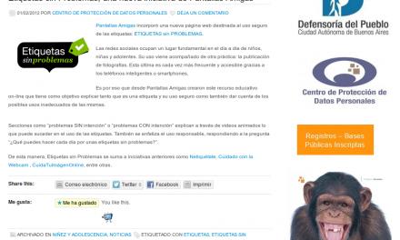 Etiquetas sin Problemas, una nueva iniciativa de Pantallas Amigas [Hábeas Data]