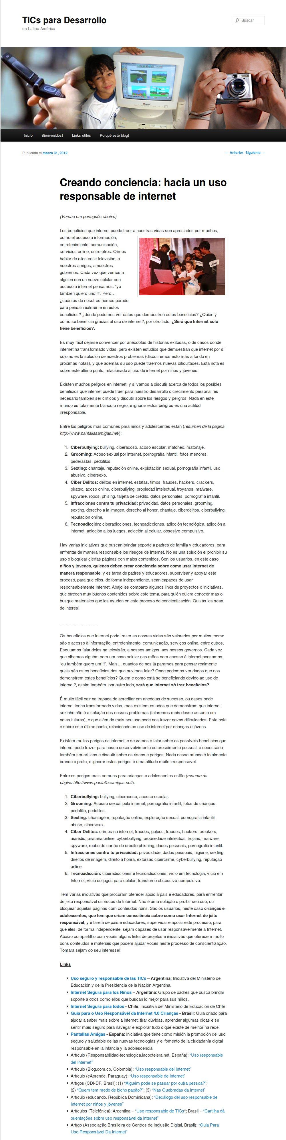 Creando conciencia: hacia un uso responsable de internet