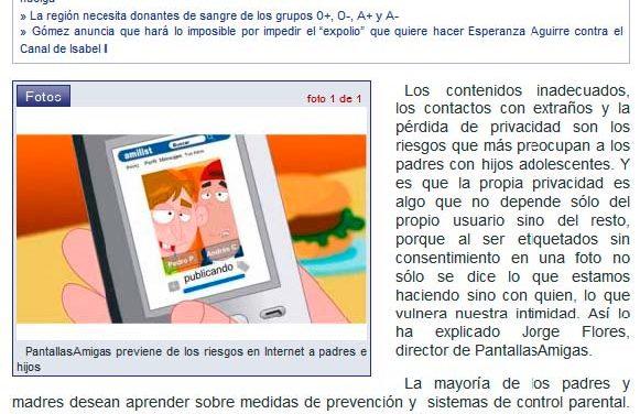 [Audio] PantallasAmigas previene de los riesgos en Internet a padres e hijos [SER Madrid Norte]