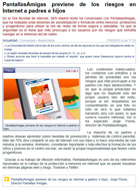 PantallasAmigas previene de los riesgos en Internet a padres e hijos