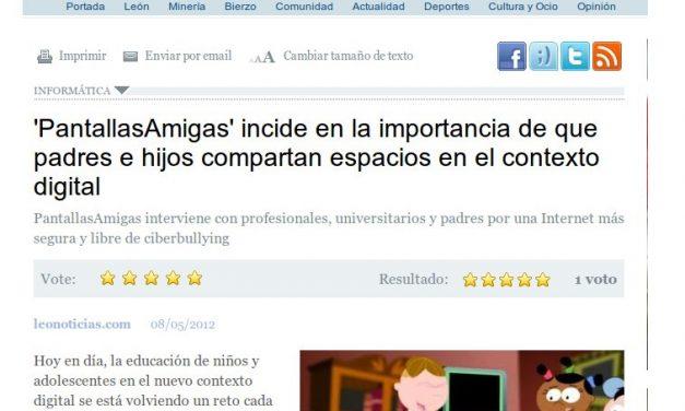 'PantallasAmigas' incide en la importancia de que padres e hijos compartan espacios en el contexto digital [LeoNoticias.com]