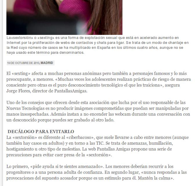 El chantaje de la sextorsión crece en Internet [ProtestanteDigital.com]