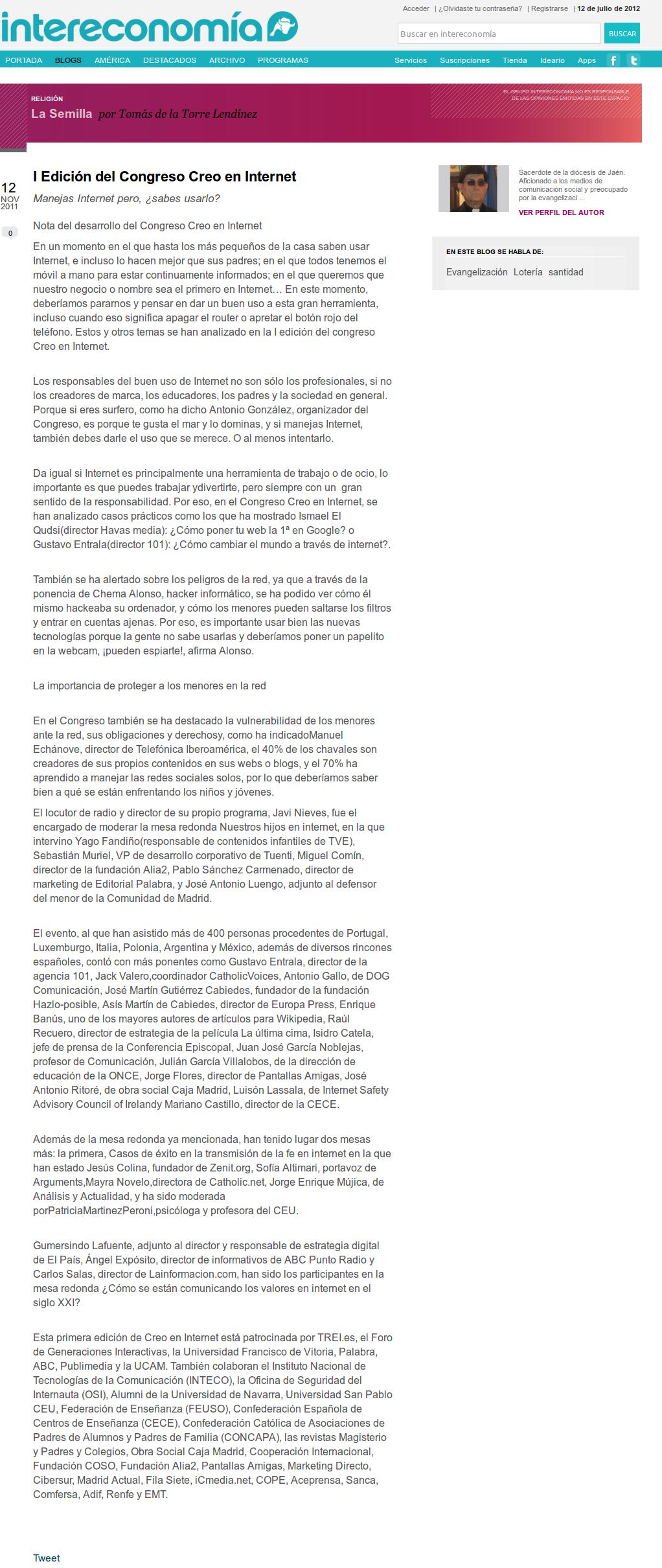 I Edición del Congreso Creo en Internet: Manejas Internet pero, ¿sabes usarlo?