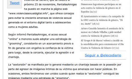 Violencia género. Crean una web para prevenir la violencia sexual contra mujeres y adolescentes en internet [ElEconomista.es]