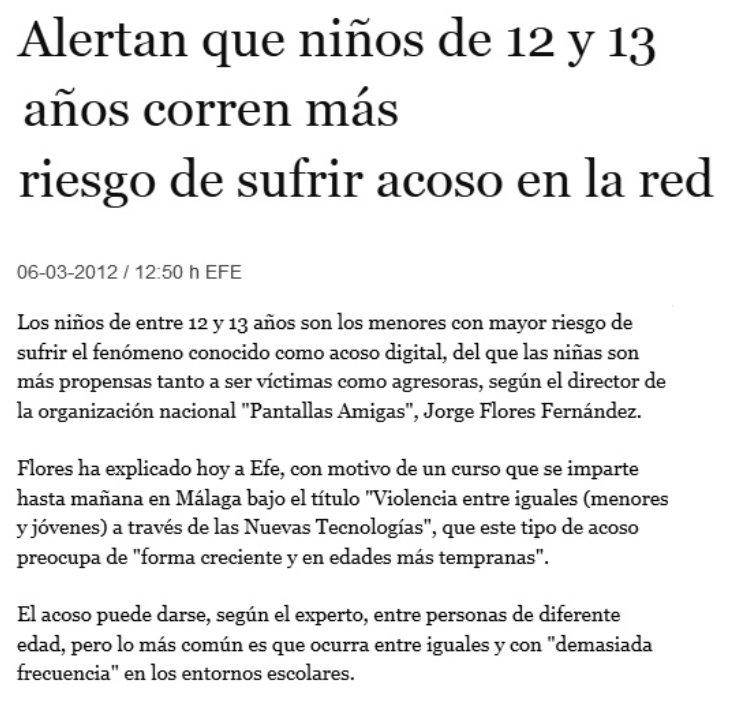 Alertan de que niños de 12 y 13 años corren más riesgo de sufrir acoso en la Red