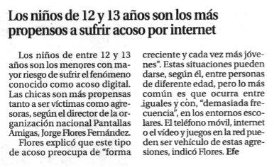 Los niños de 12 y 13 años son los más propensos a sufrir acoso por Internet [La Opinión de Tenerife]