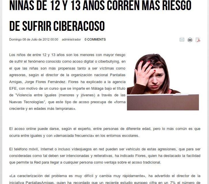 Niñas de 12 y 13 años corren más riesgo de sufrir ciberacoso [ForumVida.org]