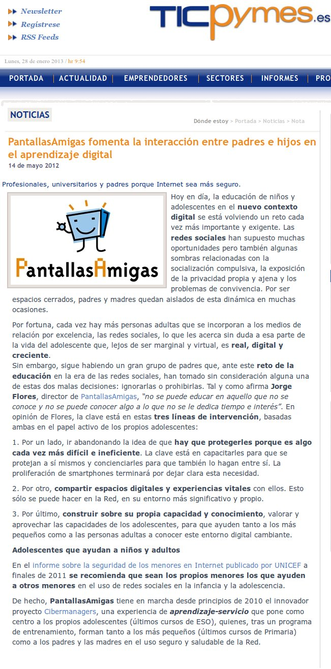 PantallasAmigas fomenta la interacción entre padres e hijos en el aprendizaje digital