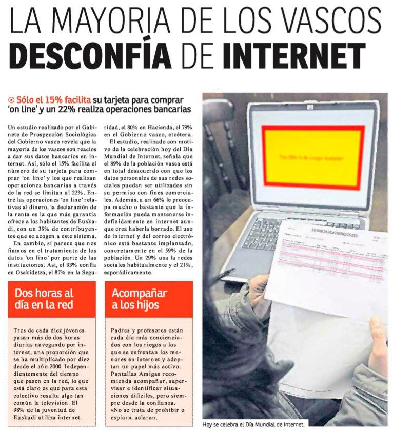 La mayoría de los vascos desconfía de Internet