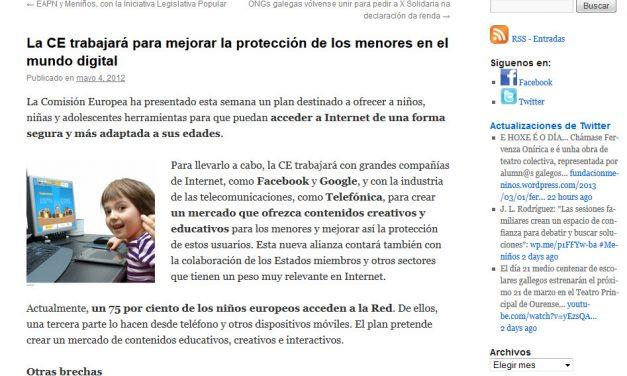 La CE trabajará para mejorar la protección de los menores en el mundo digital [Meninos.org]