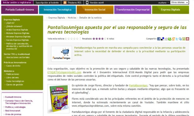 PantallasAmigas apuesta por el uso responsable y seguro de las nuevas tecnologías [Euskadinnova.net]