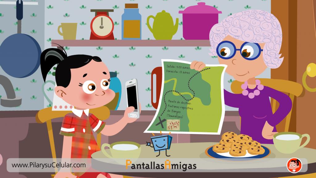 Pilar y su abuela preparan una excursión con tecnología vieja y nueva
