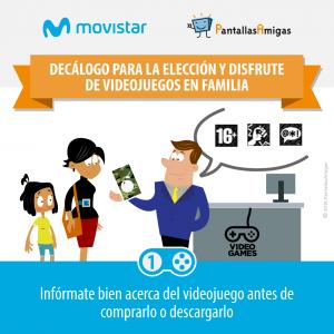 Decálogo para la elección y disfrute de videojuegos en familia - PantallasAmigas - Movistar - 01