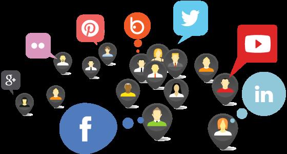Ilustración con logotipos de redes sociales online