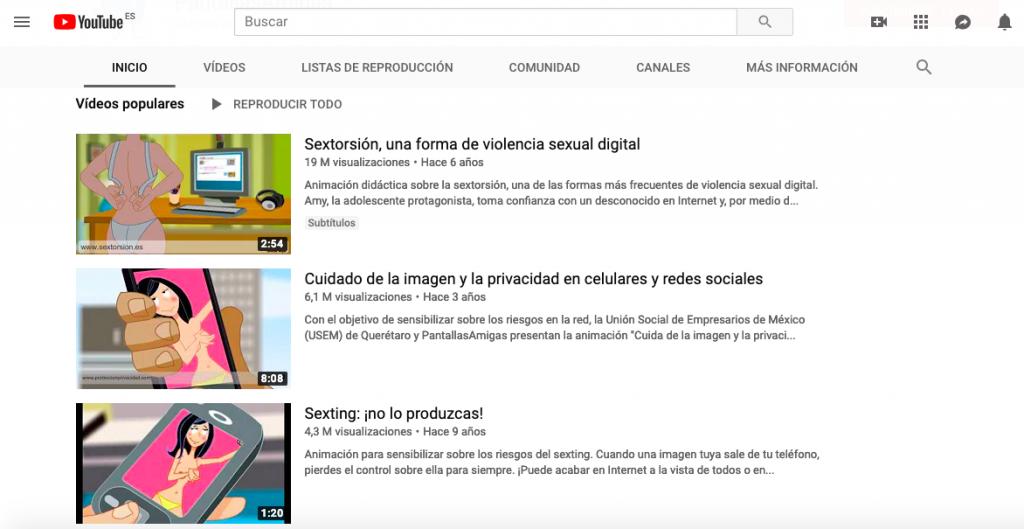 Vídeos con más visualizaciones en el canal de Youtube de PantallasAmigas