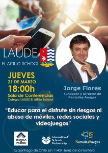 Cartel de la conferencia sobre uso digital saludable que tendrá lugar en el colegio Laude El Altillo con Jorge Flores como ponente