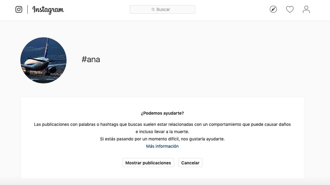 Mensaje de aviso de Instagram al buscar hashtag relacionados con los trastornos alimenticios.