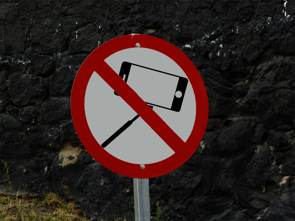 señal prohibido selfies