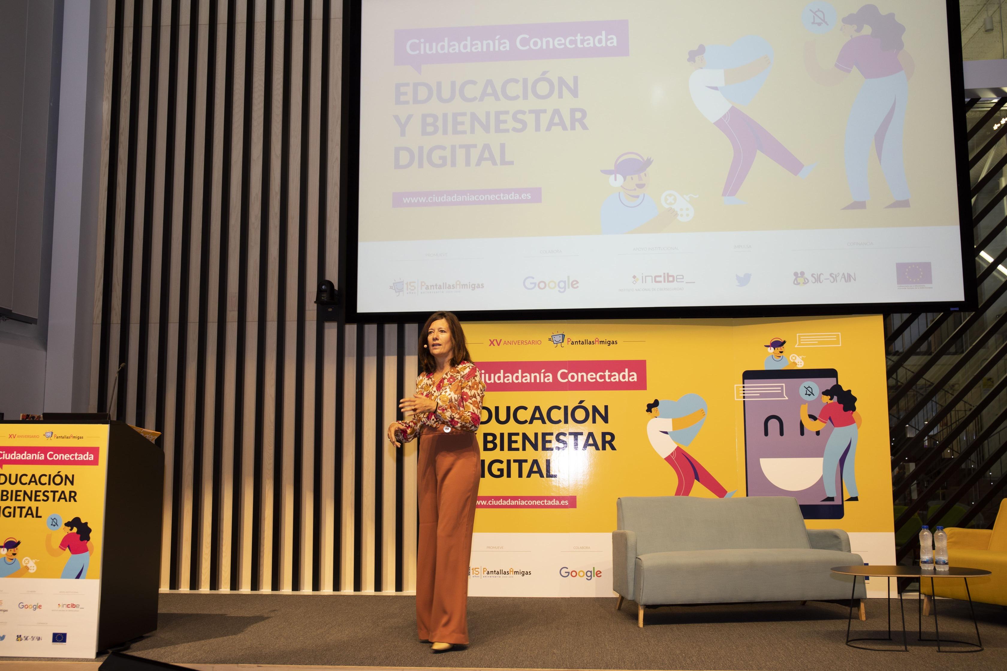 Mar España durante la apertura de la Jornada Ciudadanía Conectada sobre Educación y Bienestar Digital.