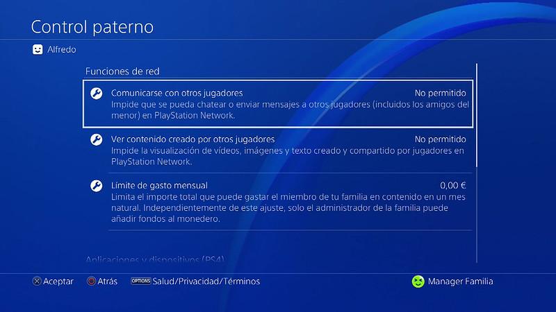 Configurar el control paterno en PlayStation