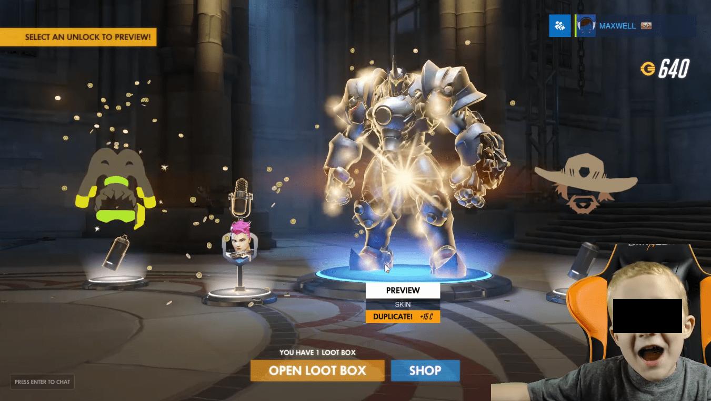 loot box en el juego Overwatch