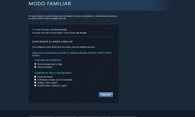 Cómo activar el Control Parental en la tienda digital de videojuegos Steam