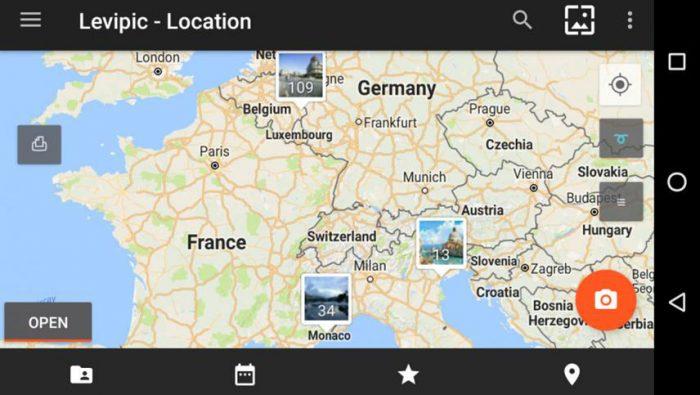 Ejemplo de vista por ubicación en la aplicación galería de Android